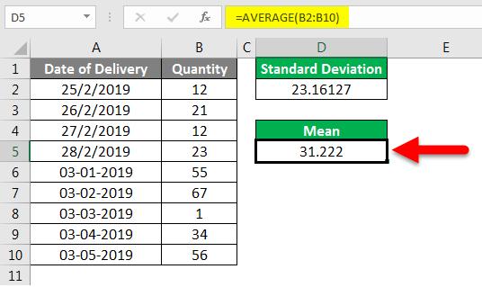 Standard Deviation Formula example 2-5