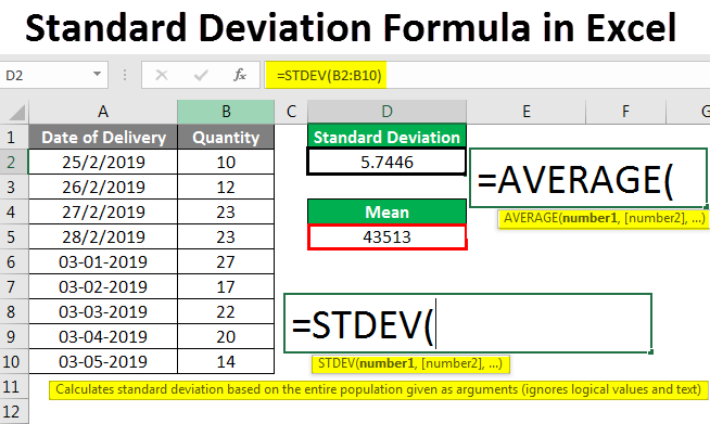 Standard Deviation in Excel