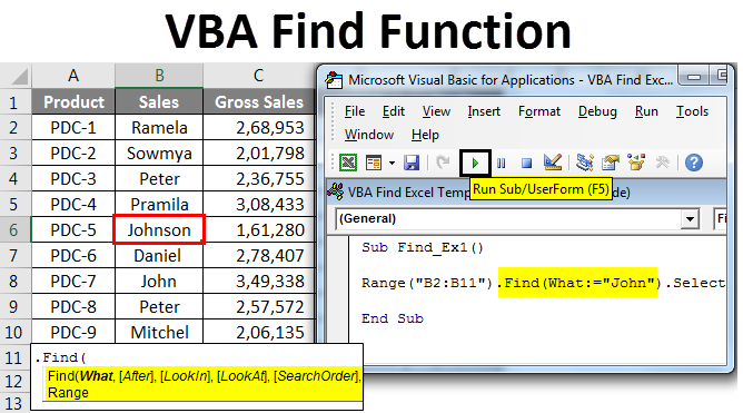 VBA Find Function | How to use Excel VBA Find Function?