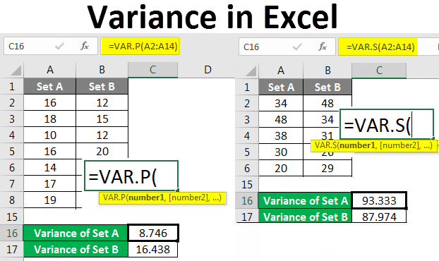 Variance in Excel