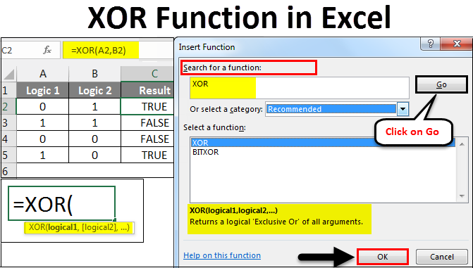 XOR Function in Excel