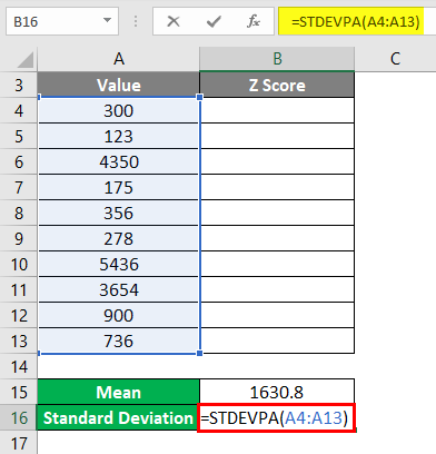 Calculation of Standard Deviation