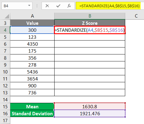 Calculation of STANDARDIZE function