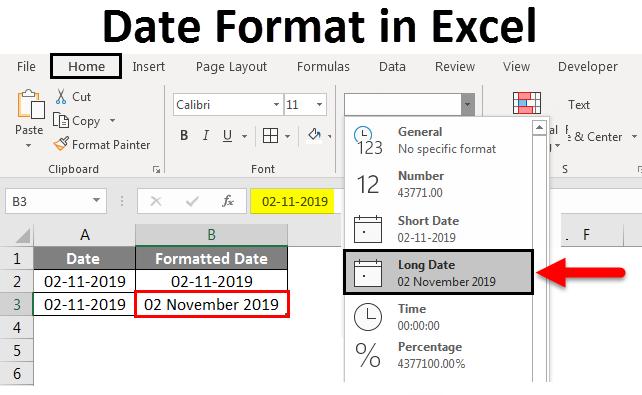 date format in excel