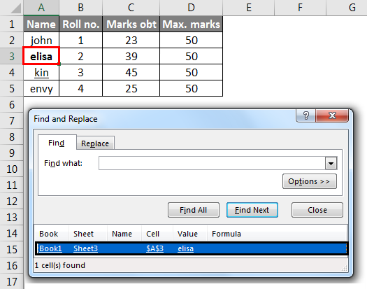 find in excel method 1-15