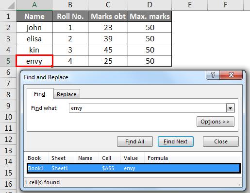 find in excel method 1-4