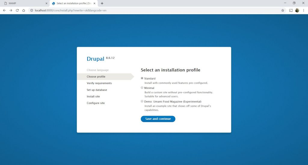 Drupal 8 Installation step 9