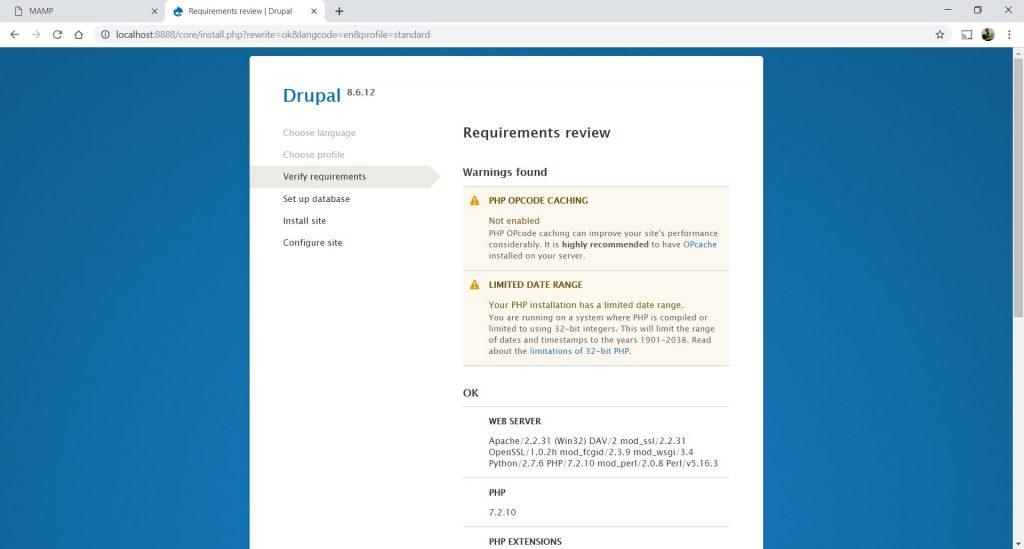 Drupal 8 Installation step 10-1