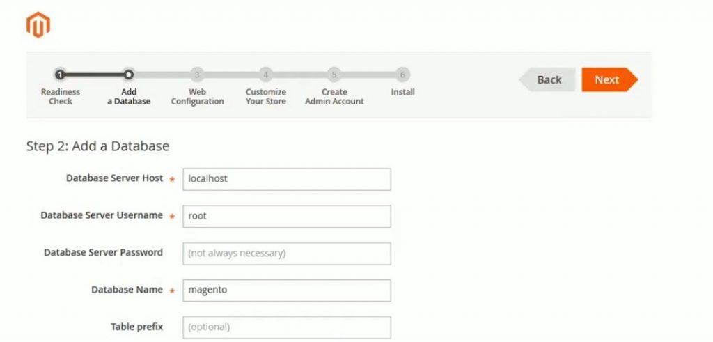 Database screen