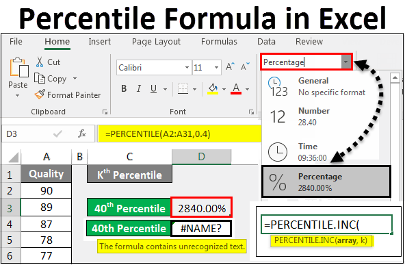 percentile formula in excel