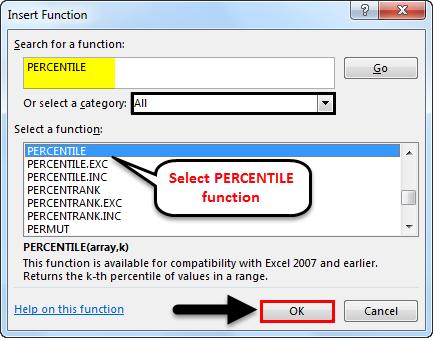 percentile formula in excel example 1-4