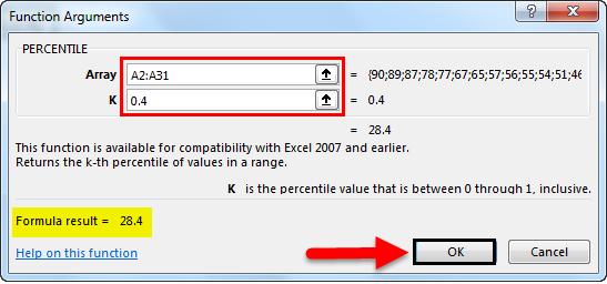 percentile formula in excel example 1-5