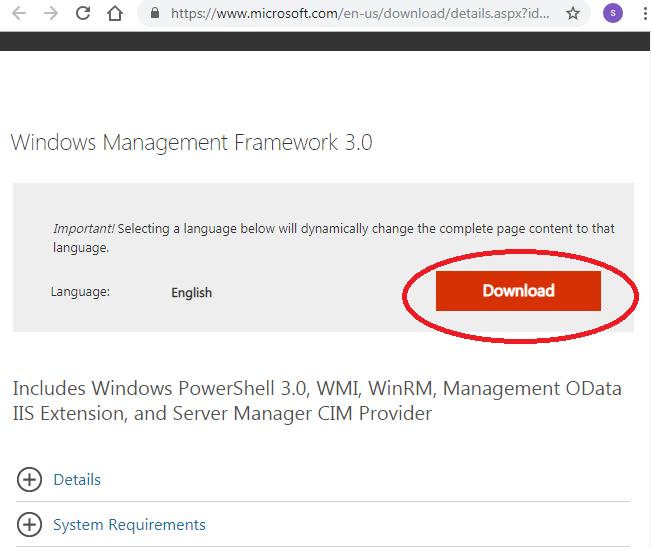 Download Windows Management Framework 3.0