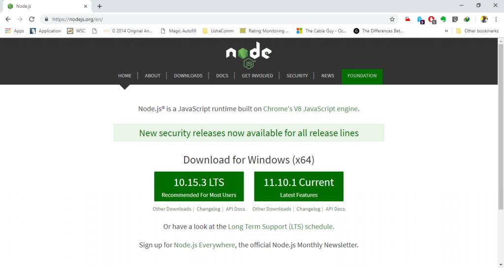 Node.js Installation Step 1