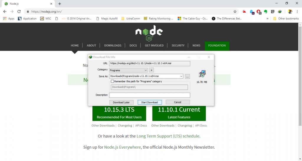 Node.js Installation Step 2