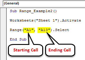 VBA Range Example 2-1