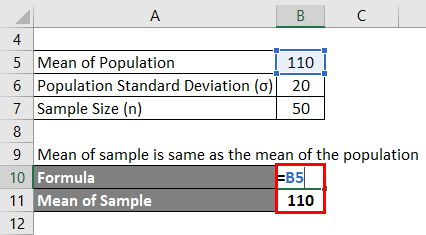 Calculation of Mean of Sample for example 2