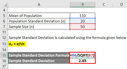 Calculation of Sample Standard Deviation for example 2