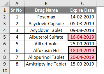 Conditional Formatting For Dates Example 1-3