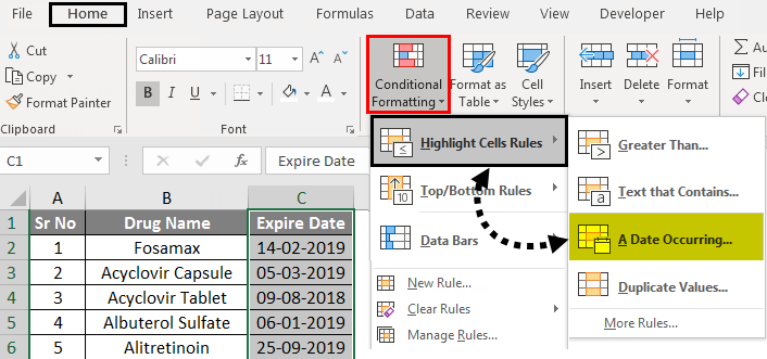 Conditional Formatting For Dates Examples 1