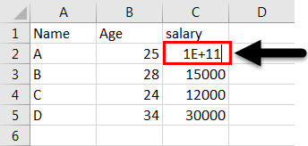 converted data in Excel