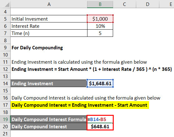 Daily Compound Interest Formula Example 1-3