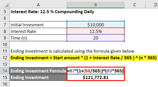calculation of Ending Investment for bank 1