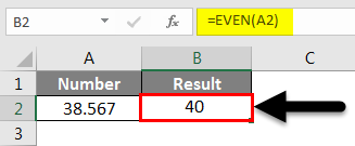 Rounding in Excel - EVEN Function Example