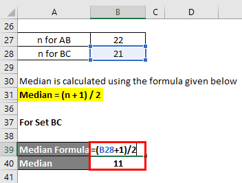 Calculation of Median for example 3-2