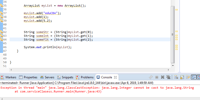 runtime error stating