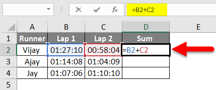 How To Sum Time In Excel Example 3-1