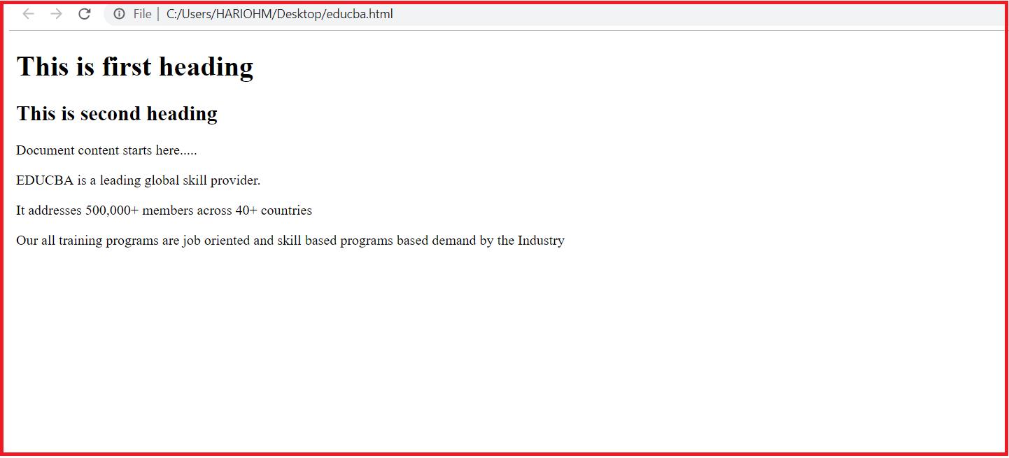HTML Heading code
