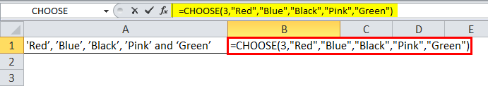 CHOOSE Formula Example 1-4