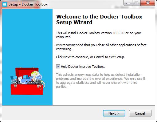 Docker Toolbox setup wizard