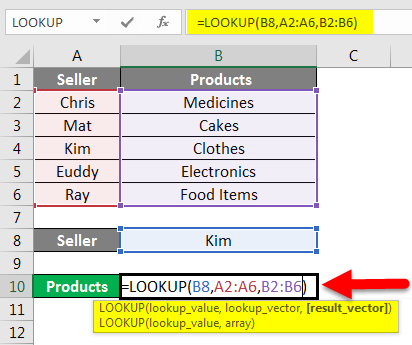 LOOKUP Function Example 1-2