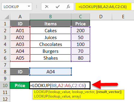 LOOKUP Function Example 2-2
