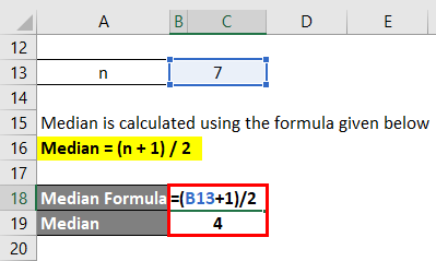 Calculation of median for example 1