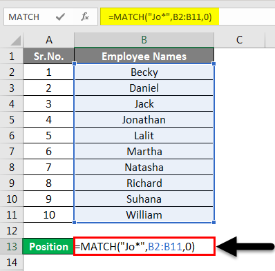 Match Function Example 2-1