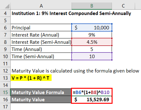 Calculation of Maturity Value for Semi-annually