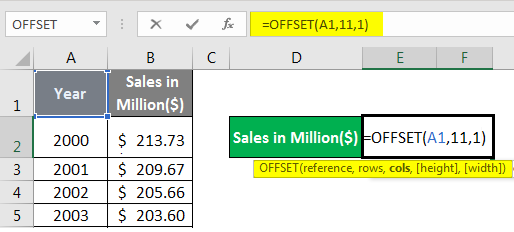 OFFSET Formula Example 1-2