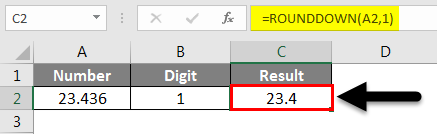 Rounding in Excel - Rounddown Function 1