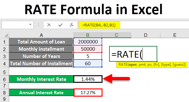 how to use rate in excel