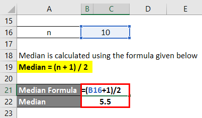 Calculation of Median for example 2