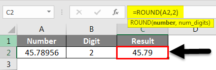 Rounding in Excel Example 1