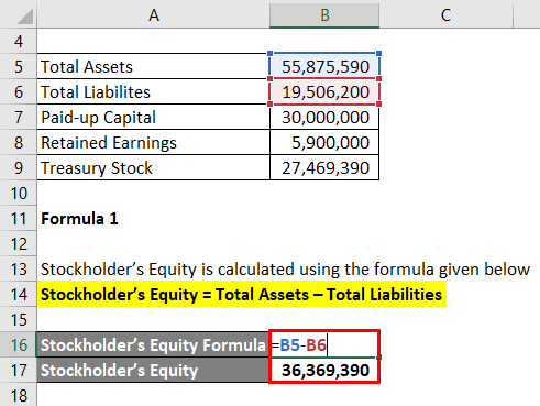 Calculation of Stockholder's Equity Formula 1