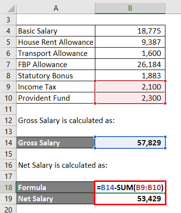 Calculation of Net Salary for Example 1
