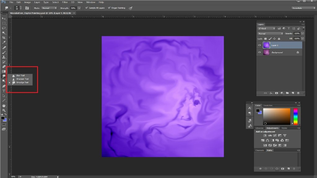 Smudge tool in photoshop 1