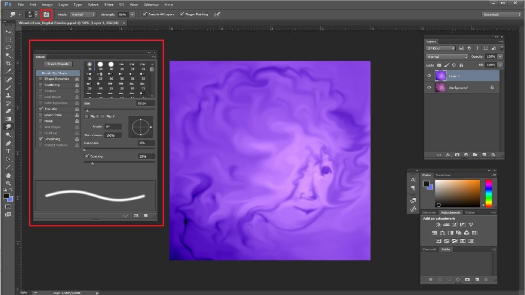 Smudge tool in photoshop 4