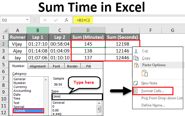 sum time in excel