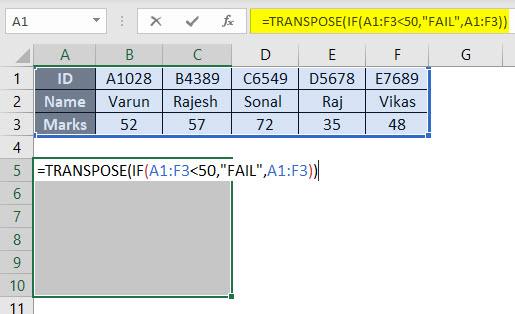 Transpose Formula Example 3-2